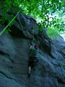 "Rock Climbing Photo: Joshua works ""Dike With a Heart"" at Rine..."