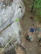Rock Climbing Photo: Joshua gears up to follow Fat Crack.