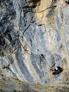 Rock Climbing Photo: Looking back on the big roof of pitch four.