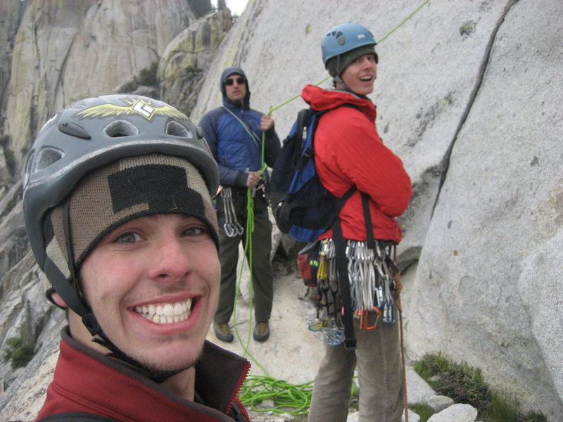 Whites Punks on White Punks on Dope on Dope. Huge ledge at the belay atop the runout slab