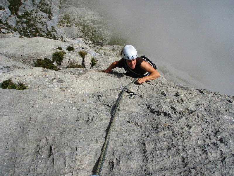 On the upper pitches of the Dachroute, accessed via Abendrot