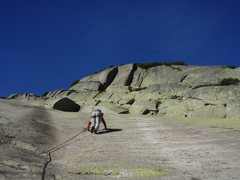 Rock Climbing Photo: Early going in the route.  Glacier polish abound.