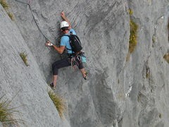 Rock Climbing Photo: Perfect, compact limestone in the crux fourth pitc...