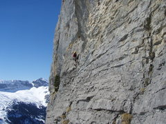 Rock Climbing Photo: Pitch three from below, showing the easy traversin...
