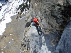 Rock Climbing Photo: Tricky, airy layback moves just before the anchor ...