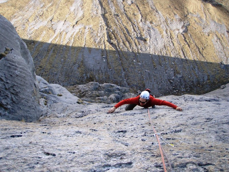 Rock Climbing Photo: Steep, pocketed limestone on the route Halma