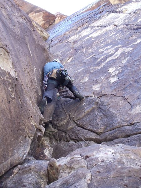 Rock Climbing Photo: Dick leading pitch 3.