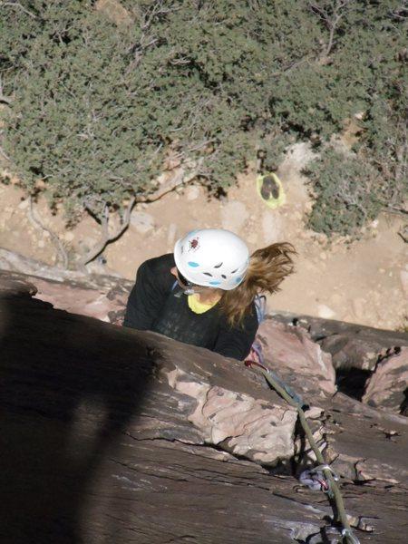 Brandi following on Fold Out! We had a few big wind gusts, but it was a great climb!