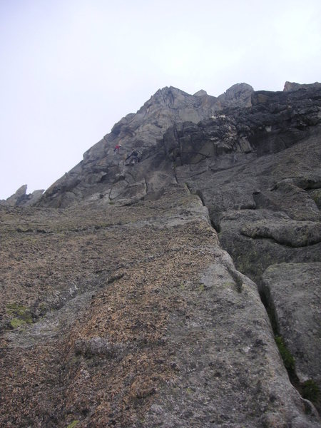 Rock Climbing Photo: Fantastic, moderately steep terrain in the lower p...