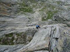 Rock Climbing Photo: Finishing off the crux sixth pitch.