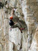 Rock Climbing Photo: Kurt putting his long reach to full advantage on h...