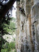 Rock Climbing Photo: Kurt finishing the crux on his flash of Thunderdom...