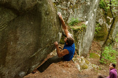 Rock Climbing Photo: Kris crossing over into the upper half of The Smok...