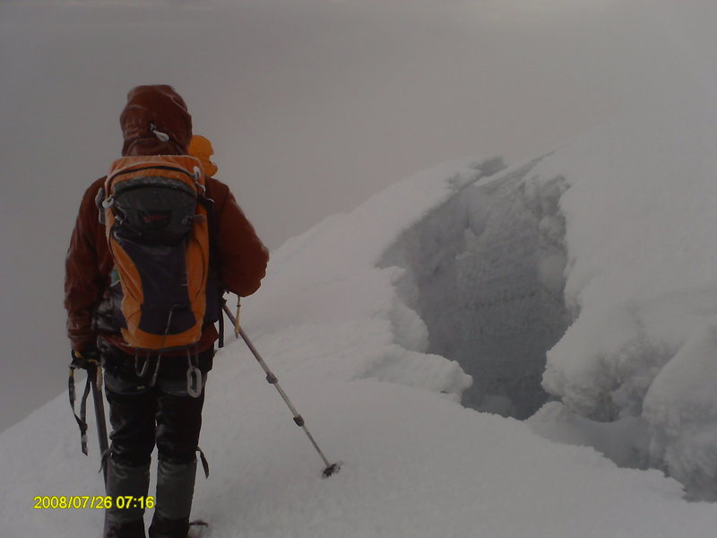 Our approach was very foggy maing it difficult to identify crevasses until you were almost on top of them.