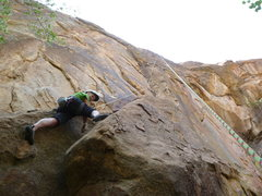 Rock Climbing Photo: Just above the hard moves on the direct start.  A ...