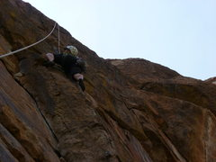 Rock Climbing Photo: On the steep face after exiting the dihedral.