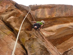 Rock Climbing Photo: A great stance on the upper wall.  You can get a &...