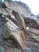Rock Climbing Photo: Beta photo for the Cinch Crack/DOA area of Hawk Ea...
