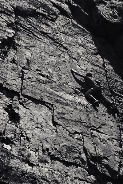 Craig about to enter the crux.