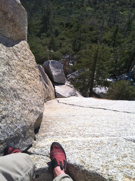 Rock Climbing Photo: Looking down the dihedral nearing the top of P1. T...