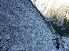 Rock Climbing Photo: Long runout on Tatonka, Cochamo.