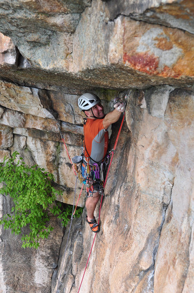 Rock Climbing Photo: Todd Mummert underneath the roof.