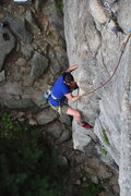 Rock Climbing Photo: Reaching the arete.