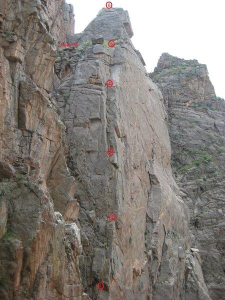 Rock Climbing Photo: Photo topo of the route.