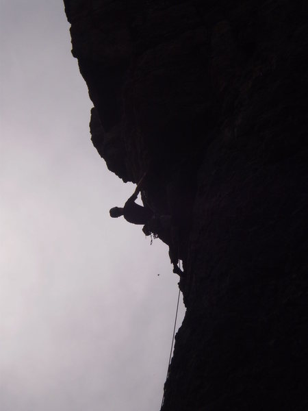 Rock Climbing Photo: The crux of Six to Eleven 5.11b  (It's really not ...