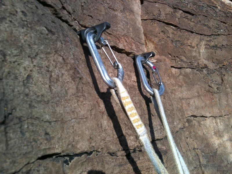 Classic knife blade anchor on the top of pitch 4 of Canyon Cruiser, Glenwood Canyon.