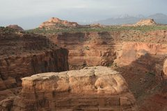 Rock Climbing Photo: The top portion of Enchanted Mesa.  The La Sal mou...