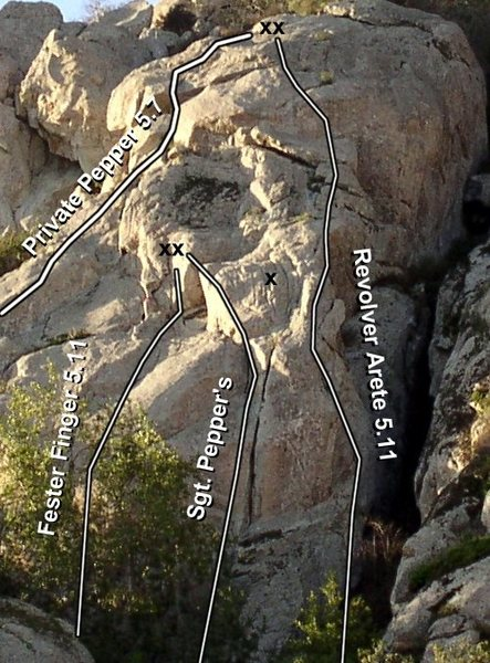 Various routes in and around Jam Crack area. Sgt. Pepper's is best known but other interesting routes nearby make it a worthy destination.
