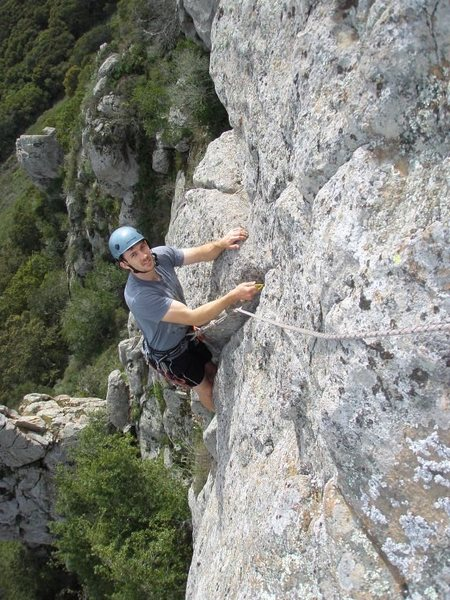 Rock Climbing Photo: Raleigh looking comfortable near the top of Privat...