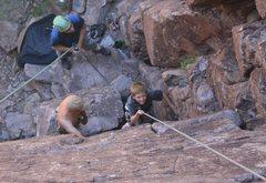 Rock Climbing Photo: My son Hyrum Starting Anne of a Thousand Days