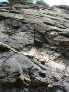 Rock Climbing Photo: The route with bolt locations.