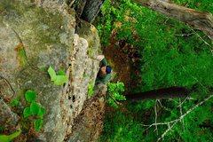 "Rock Climbing Photo: jim negotiates the mantle move on ""rigormorti..."