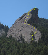 Rock Climbing Photo: This is the route we took, with approximate belay ...