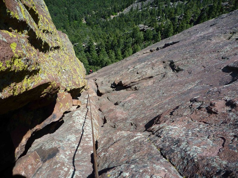 Looking down the massive Fandango dihedral from the North Arete.