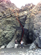 Rock Climbing Photo: Beta photo for Sea Cave, Walk the walk