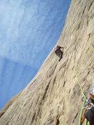 Rock Climbing Photo: Slabbing in the Swell