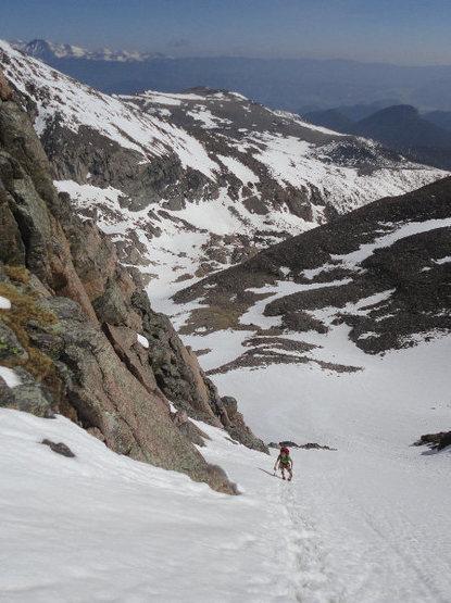 Ascending 600-foot snow field to reach the start of Dreamweaver