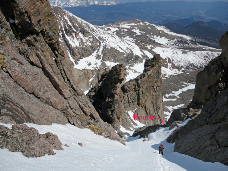 Above the technical section and upwards to the final snow field