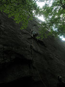 Rock Climbing Photo: Mike Gray leading North Country Club Crack.