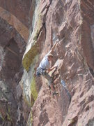Rock Climbing Photo: Chris making the first crux move.  Photo by Karl M...