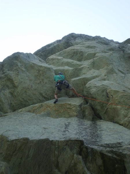 Getting steep on Eros.  Right before the crux roof.