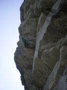 Rock Climbing Photo: At the steep crux of Winged Mongrel.  Great jugs!
