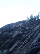 Rock Climbing Photo: At the funky crux of Ellie Reynolds.