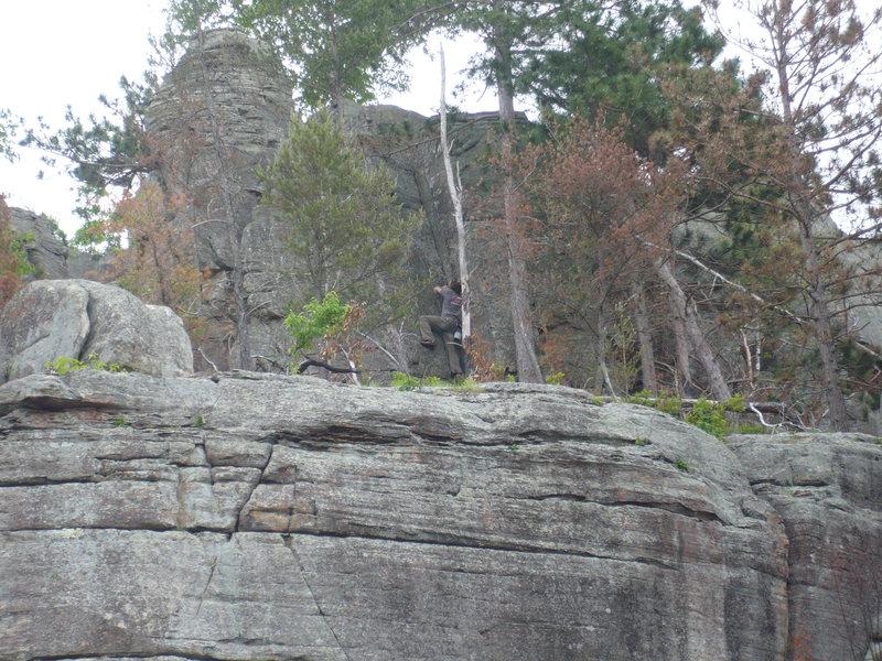 Rock Climbing Photo: Rhoads sans rope and pad