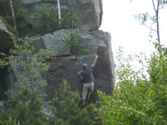 Rock Climbing Photo: Mike moving up and gaining arete.