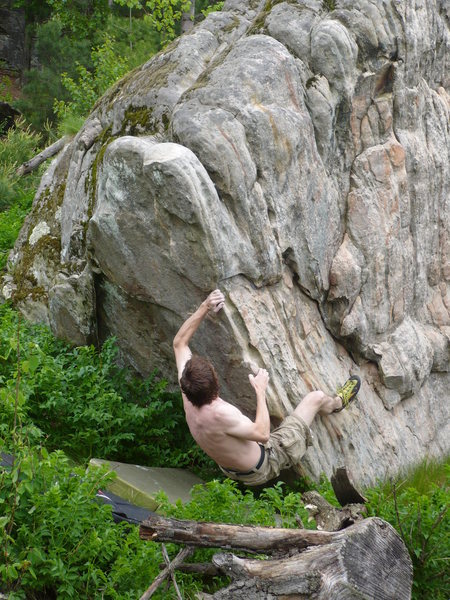 Rock Climbing Photo: John flashing Red Rock Arete